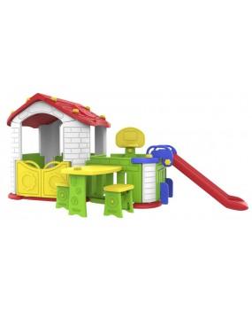 Záhradný domček so šmykľavkou a posedením 5 v 1 červený